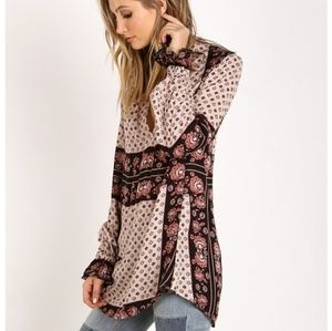 S Free People  Changing Times Printed Blouse Tea
